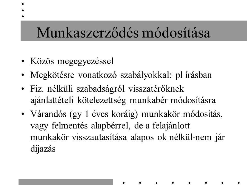 Munkaszerződés módosítása Közös megegyezéssel Megkötésre vonatkozó szabályokkal: pl írásban Fiz.