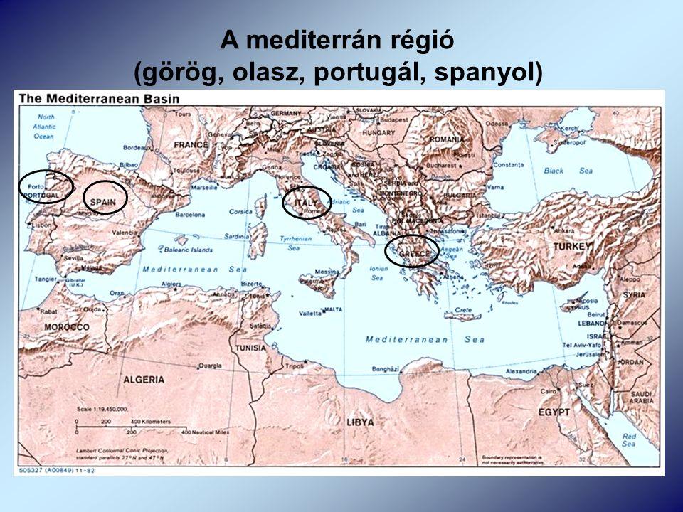 A mediterrán régió (görög, olasz, portugál, spanyol)