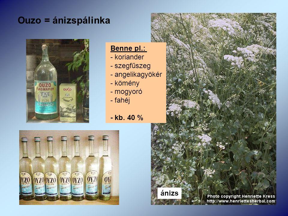 Ouzo = ánizspálinka ánizs Benne pl.: - koriander - szegfűszeg - angelikagyökér - kömény - mogyoró - fahéj - kb.