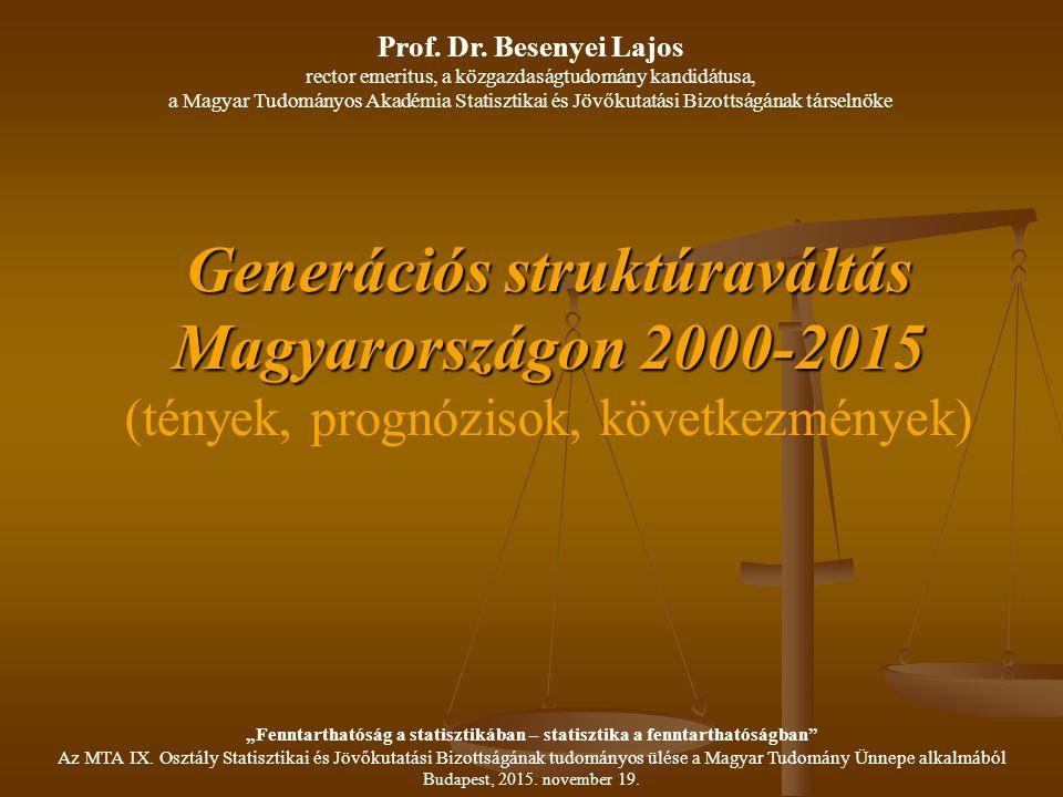 """Veterán (csendes) generáció (1926-1945) - nem aktív munkaerő piaci szereplő, - egy életen át egy szakmában és egy munkahelyen dolgozik, - élettapasztalatuk: az alkalmazkodás a siker záloga, (háborúk túlélése, társadalmi és gazdasági változások) - tisztelik a kétkezi munkát, - tisztelik az életkorhoz köthető tapasztalatokat, Besenyei Lajos: Generációs struktúraváltás Magyarországon 2000-2015 (tények, prognózisok, következmények) """"Fenntarthatóság a statisztikában – statisztika a fenntarthatóságban Az MTA IX."""