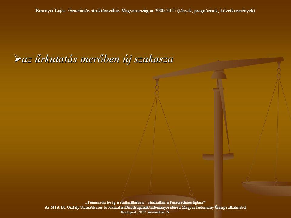 """ az űrkutatás merőben új szakasza Besenyei Lajos: Generációs struktúraváltás Magyarországon 2000-2015 (tények, prognózisok, következmények) """"Fenntarthatóság a statisztikában – statisztika a fenntarthatóságban Az MTA IX."""