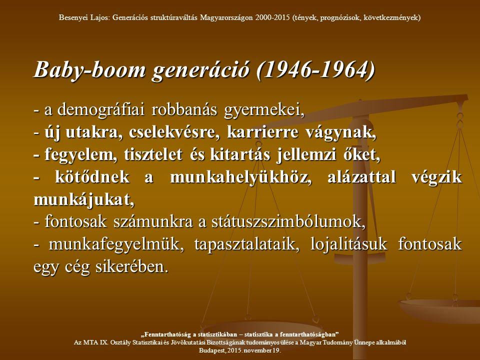 Baby-boom generáció (1946-1964) - a demográfiai robbanás gyermekei, - új utakra, cselekvésre, karrierre vágynak, - fegyelem, tisztelet és kitartás jellemzi őket, - kötődnek a munkahelyükhöz, alázattal végzik munkájukat, - fontosak számunkra a státuszszimbólumok, - munkafegyelmük, tapasztalataik, lojalitásuk fontosak egy cég sikerében.