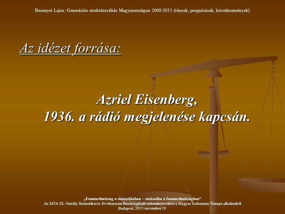 Az idézet forrása: Azriel Eisenberg, 1936. a rádió megjelenése kapcsán.