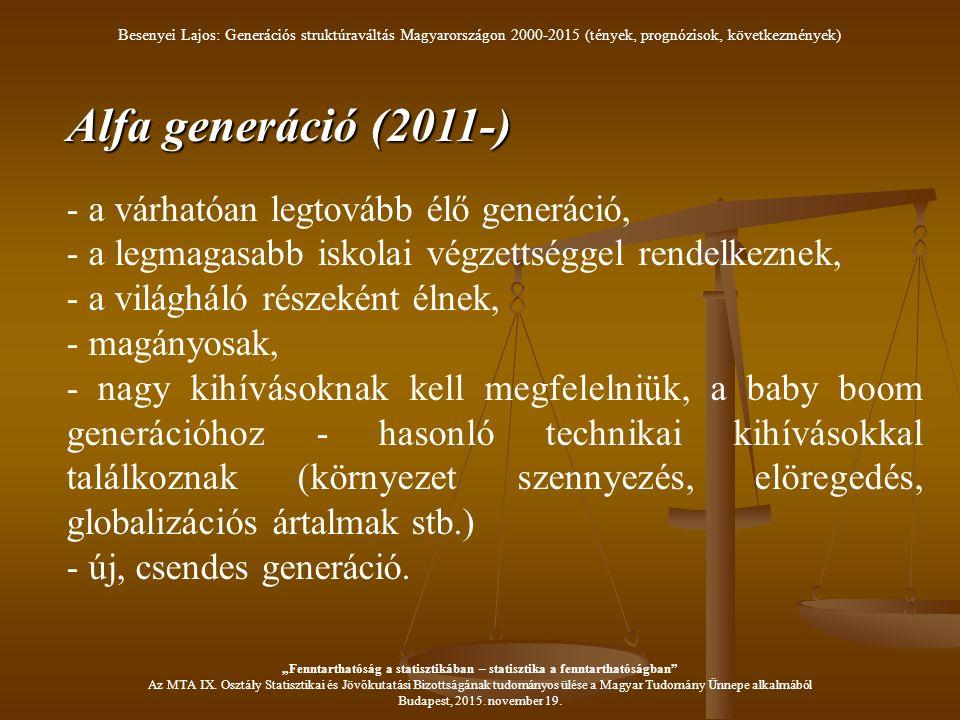 Alfa generáció (2011-) - a várhatóan legtovább élő generáció, - a legmagasabb iskolai végzettséggel rendelkeznek, - a világháló részeként élnek, - magányosak, - nagy kihívásoknak kell megfelelniük, a baby boom generációhoz - hasonló technikai kihívásokkal találkoznak (környezet szennyezés, elöregedés, globalizációs ártalmak stb.) - új, csendes generáció.