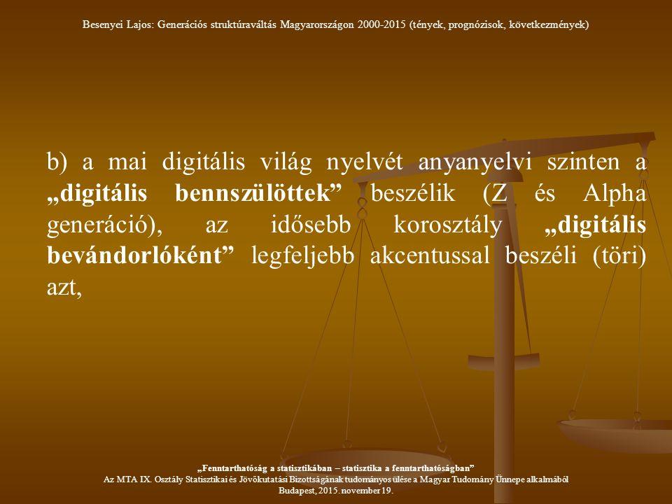 """b) a mai digitális világ nyelvét anyanyelvi szinten a """"digitális bennszülöttek beszélik (Z és Alpha generáció), az idősebb korosztály """"digitális bevándorlóként legfeljebb akcentussal beszéli (töri) azt, Besenyei Lajos: Generációs struktúraváltás Magyarországon 2000-2015 (tények, prognózisok, következmények) """"Fenntarthatóság a statisztikában – statisztika a fenntarthatóságban Az MTA IX."""