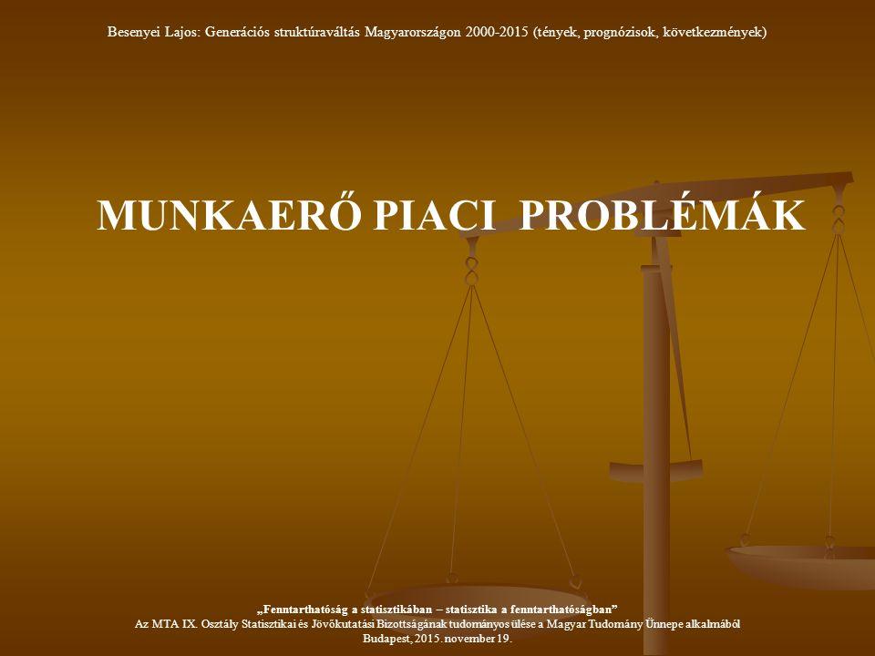 """MUNKAERŐ PIACI PROBLÉMÁK Besenyei Lajos: Generációs struktúraváltás Magyarországon 2000-2015 (tények, prognózisok, következmények) """"Fenntarthatóság a statisztikában – statisztika a fenntarthatóságban Az MTA IX."""
