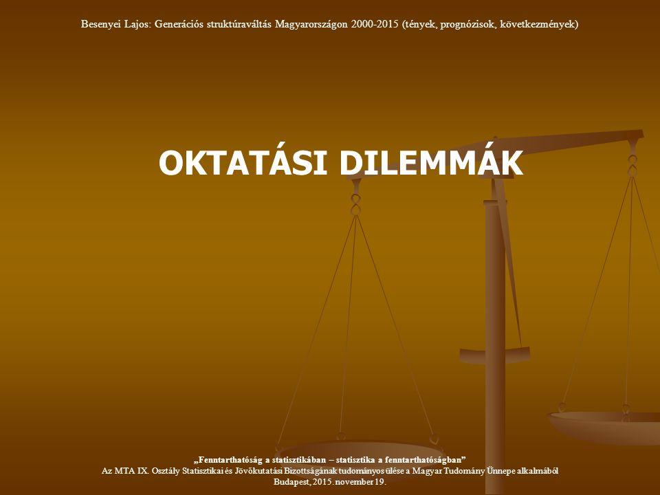 """OKTATÁSI DILEMMÁK Besenyei Lajos: Generációs struktúraváltás Magyarországon 2000-2015 (tények, prognózisok, következmények) """"Fenntarthatóság a statisztikában – statisztika a fenntarthatóságban Az MTA IX."""