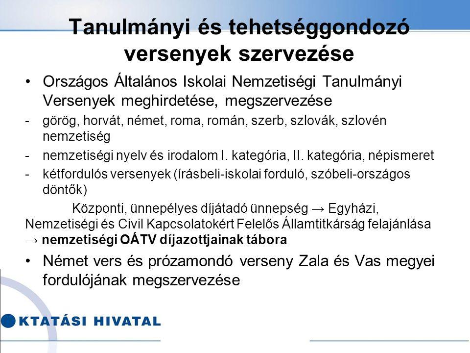 Tanulmányi és tehetséggondozó versenyek szervezése Országos Általános Iskolai Nemzetiségi Tanulmányi Versenyek meghirdetése, megszervezése -görög, hor