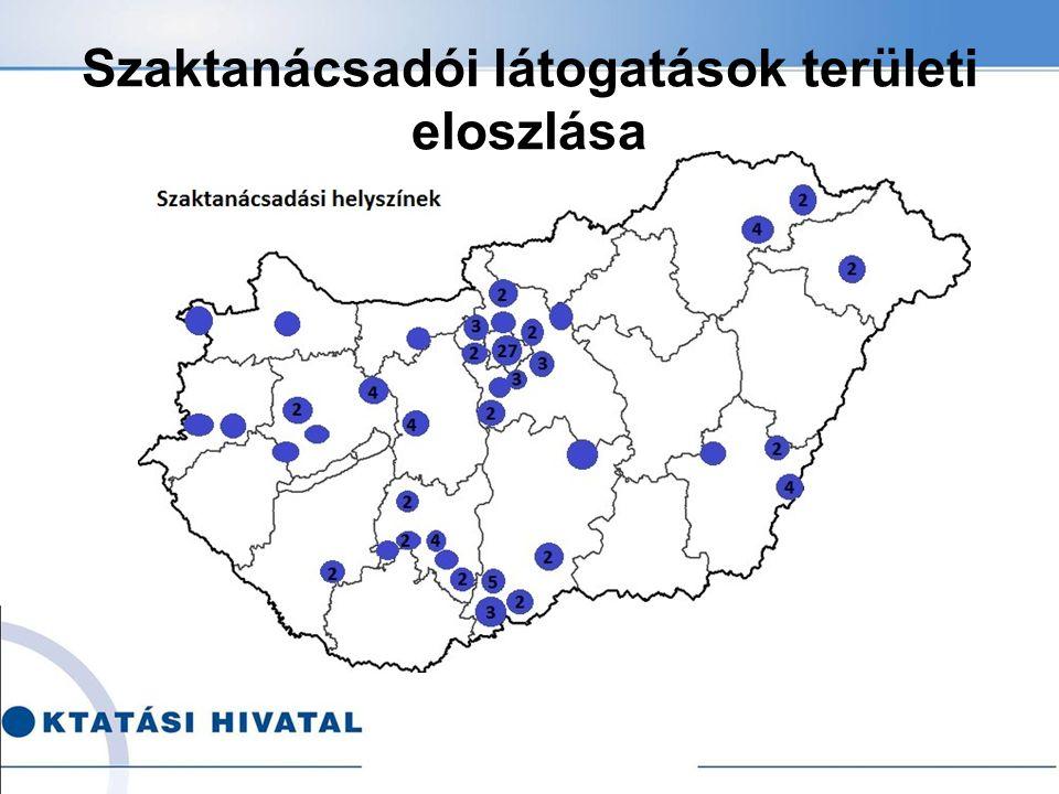 Szaktanácsadói látogatások területi eloszlása