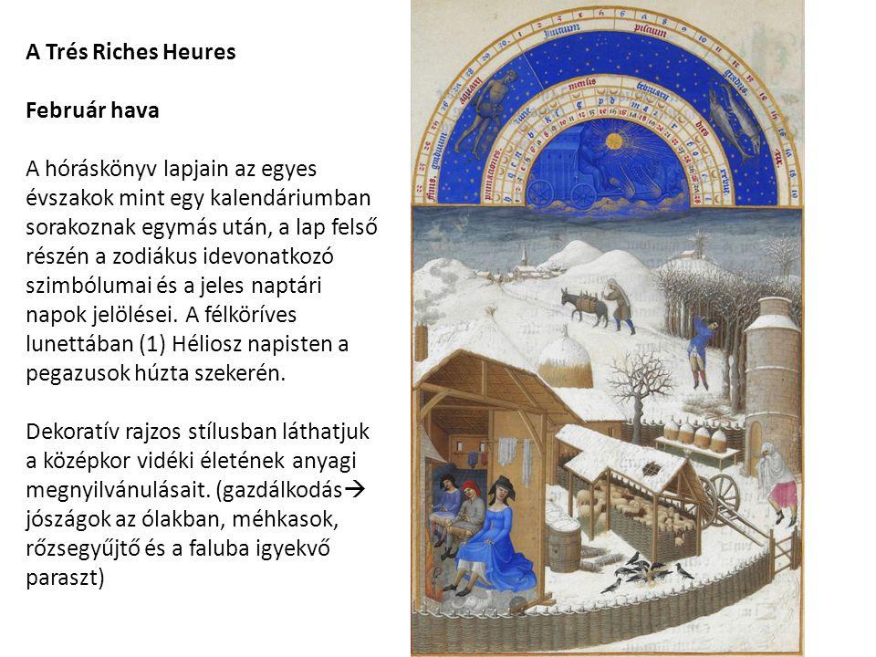 A Trés Riches Heures Február hava A hóráskönyv lapjain az egyes évszakok mint egy kalendáriumban sorakoznak egymás után, a lap felső részén a zodiákus idevonatkozó szimbólumai és a jeles naptári napok jelölései.