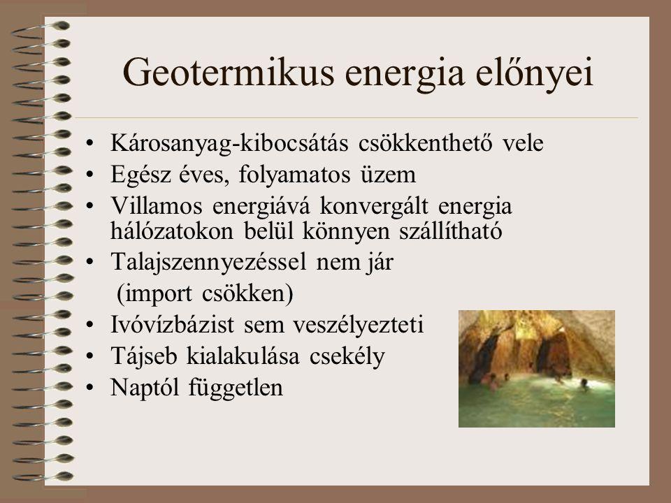 Geotermikus energia előnyei Károsanyag-kibocsátás csökkenthető vele Egész éves, folyamatos üzem Villamos energiává konvergált energia hálózatokon belül könnyen szállítható Talajszennyezéssel nem jár (import csökken) Ivóvízbázist sem veszélyezteti Tájseb kialakulása csekély Naptól független