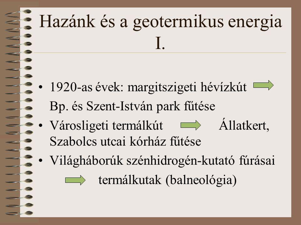 Hazánk és a geotermikus energia I. 1920-as évek: margitszigeti hévízkút Bp.