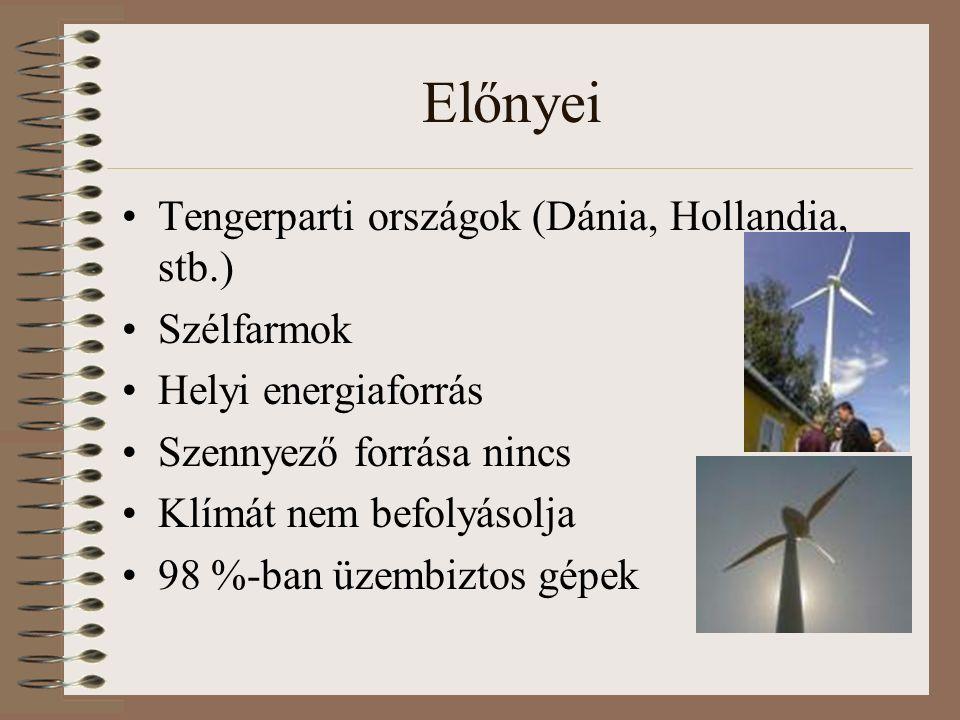 Előnyei Tengerparti országok (Dánia, Hollandia, stb.) Szélfarmok Helyi energiaforrás Szennyező forrása nincs Klímát nem befolyásolja 98 %-ban üzembiztos gépek