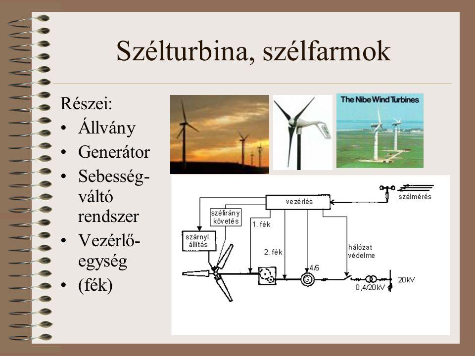 Szélturbina, szélfarmok Részei: Állvány Generátor Sebesség- váltó rendszer Vezérlő- egység (fék)