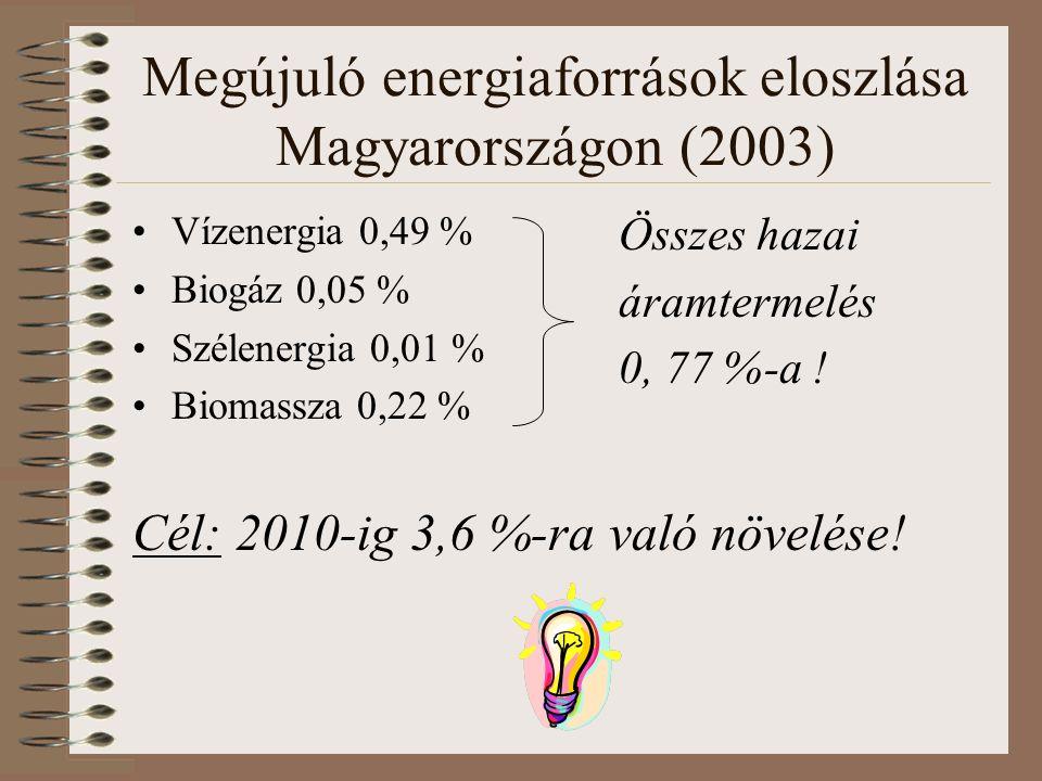 Megújuló energiaforrások eloszlása Magyarországon (2003) Vízenergia 0,49 % Biogáz 0,05 % Szélenergia 0,01 % Biomassza 0,22 % Cél: 2010-ig 3,6 %-ra való növelése.