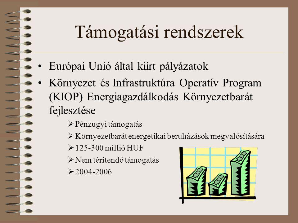 Támogatási rendszerek Európai Unió által kiírt pályázatok Környezet és Infrastruktúra Operatív Program (KIOP) Energiagazdálkodás Környezetbarát fejlesztése  Pénzügyi támogatás  Környezetbarát energetikai beruházások megvalósítására  125-300 millió HUF  Nem térítendő támogatás  2004-2006