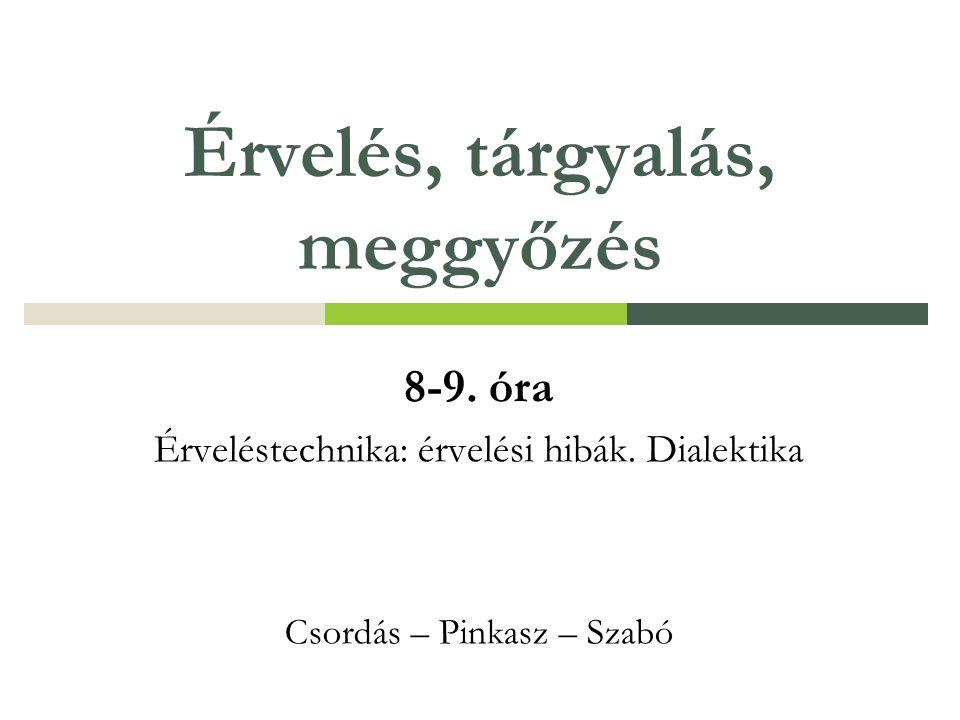 Érvelés, tárgyalás, meggyőzés 8-9. óra Érveléstechnika: érvelési hibák.