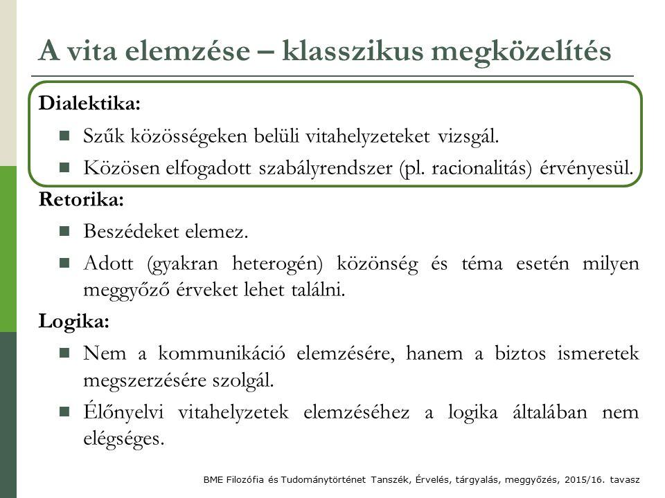 A vita elemzése – klasszikus megközelítés Dialektika: Szűk közösségeken belüli vitahelyzeteket vizsgál.