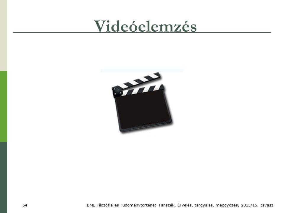 Videóelemzés BME Filozófia és Tudománytörténet Tanszék, Érvelés, tárgyalás, meggyőzés, 2015/16.