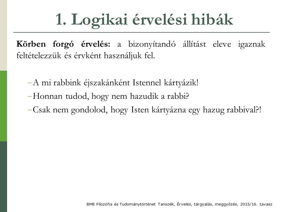 1. Logikai érvelési hibák Körben forgó érvelés: a bizonyítandó állítást eleve igaznak feltételezzük és érvként használjuk fel. − A mi rabbink éjszakán