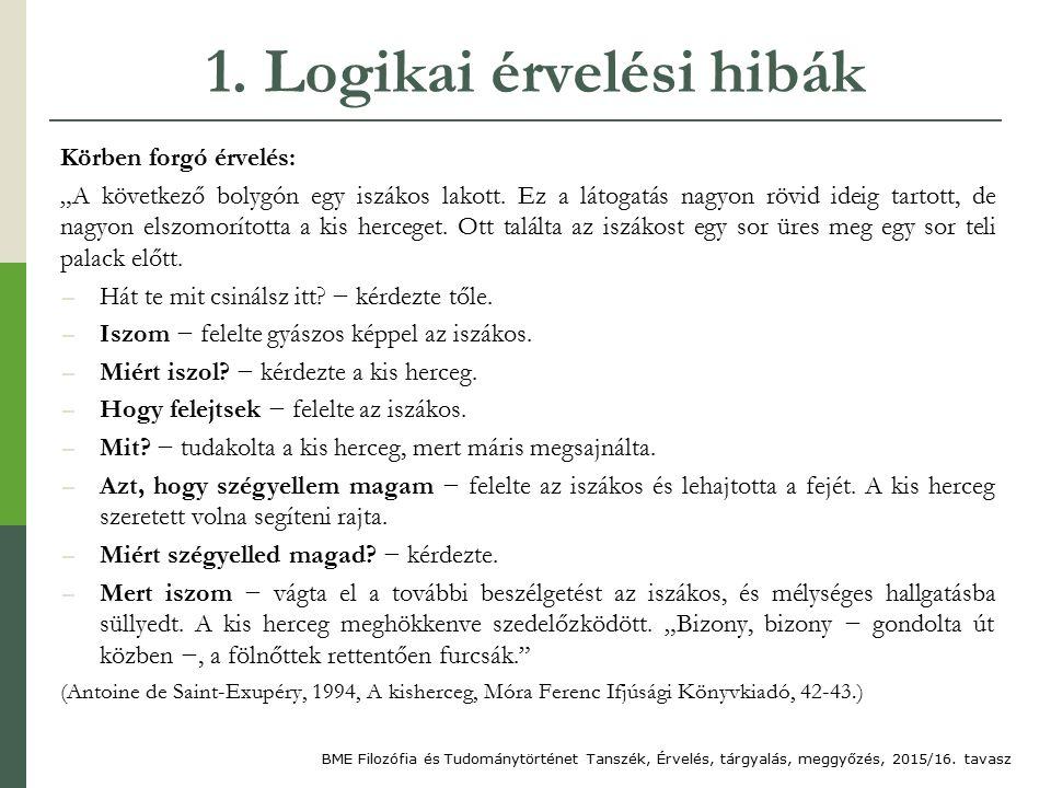 """1. Logikai érvelési hibák Körben forgó érvelés: """"A következő bolygón egy iszákos lakott."""