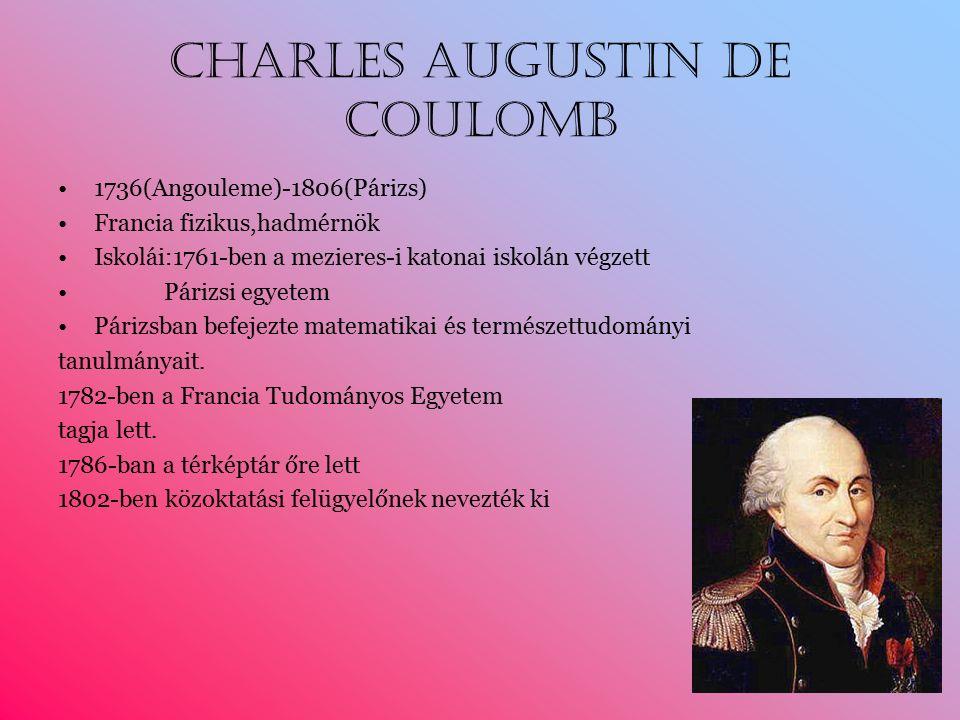 Charles Augustin de Coulomb 1736(Angouleme)-1806(Párizs) Francia fizikus,hadmérnök Iskolái:1761-ben a mezieres-i katonai iskolán végzett Párizsi egyetem Párizsban befejezte matematikai és természettudományi tanulmányait.