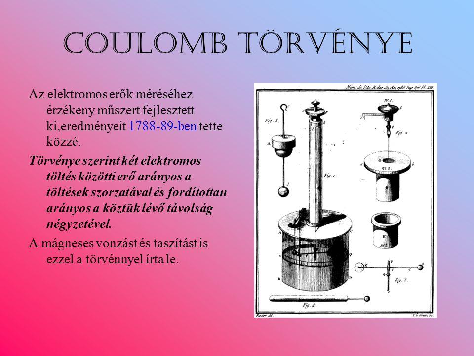 Coulomb törvénye Az elektromos erők méréséhez érzékeny műszert fejlesztett ki,eredményeit 1788-89-ben tette közzé.