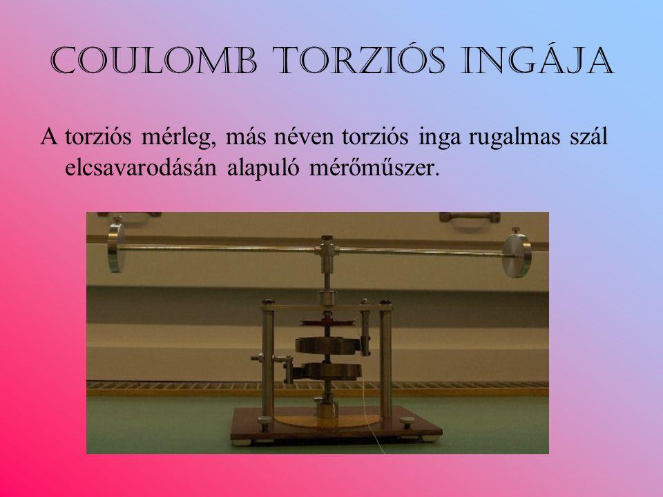 Coulomb torziós ingája A torziós mérleg, más néven torziós inga rugalmas szál elcsavarodásán alapuló mérőműszer.