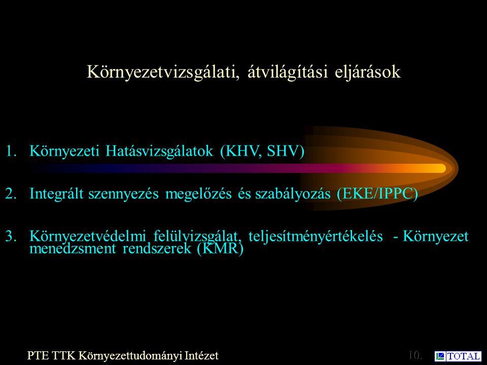 Környezetvizsgálati, átvilágítási eljárások Dr. Héjj Botond: Környezetgazdaságtan 9