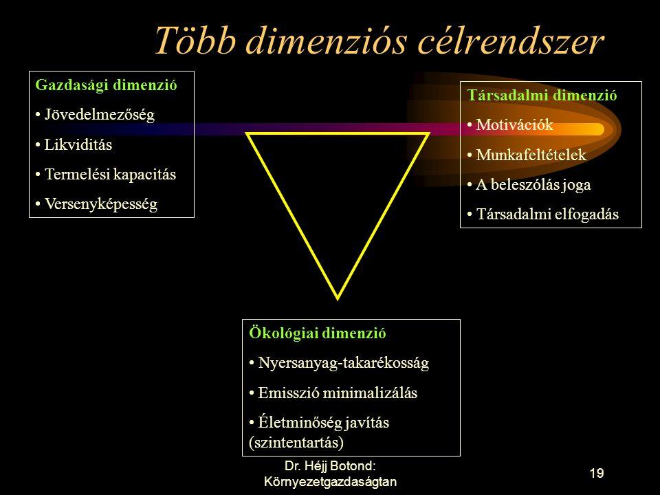 Többdimenziós célrendszer A többdimenziós célrendszer arra utal, hogy a környezetmenedzsment nem ad hoc egyedi intézkedések sorozata.
