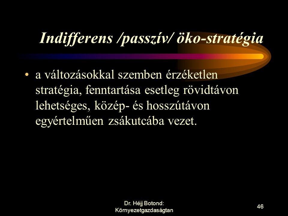 Öko-marketing stratégiák Indifferens /passzív/ öko-stratégia Defenzív /reaktív/ öko-stratégia Offenzív /aktív/ öko-stratégia Innovatív /proaktív/ öko-stratégia Dr.