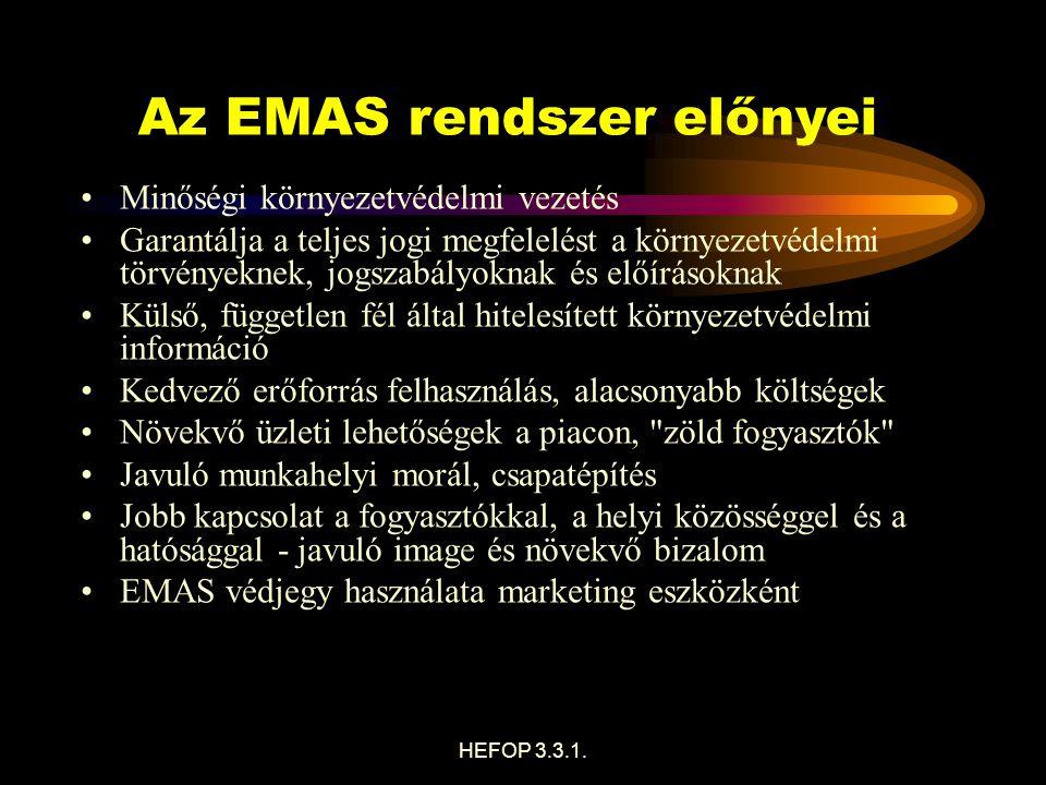 A környezetvédelmi vezetési rendszerek (EMS) - és így az EMAS szerint hitelesített rendszerek - legfontosabb alapelvei a vonatkozó környezetvédelmi jogszabályi követelmények betartása.