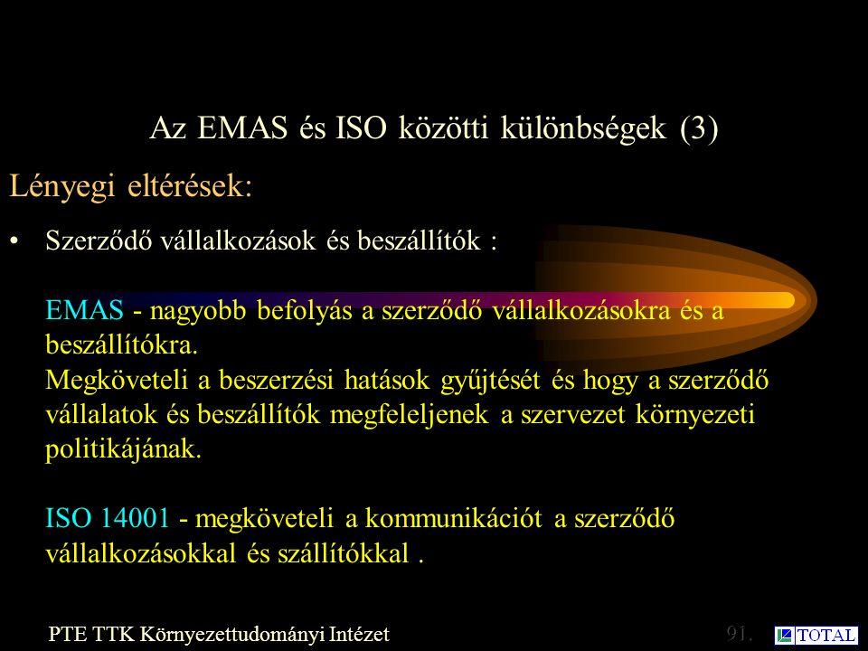 Az EMAS és ISO közötti különbségek (2) PTE TTK Környezettudományi Intézet Lényegi eltérések: Audit: Az ISO 14001 is megköveteli az auditot, bár gyakoriságát nem írja elő.
