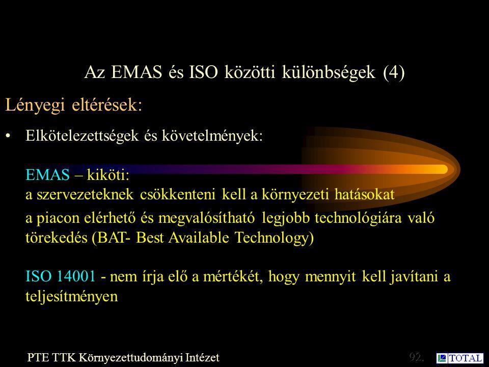 Az EMAS és ISO közötti különbségek (3) PTE TTK Környezettudományi Intézet Lényegi eltérések: Szerződő vállalkozások és beszállítók : EMAS - nagyobb befolyás a szerződő vállalkozásokra és a beszállítókra.