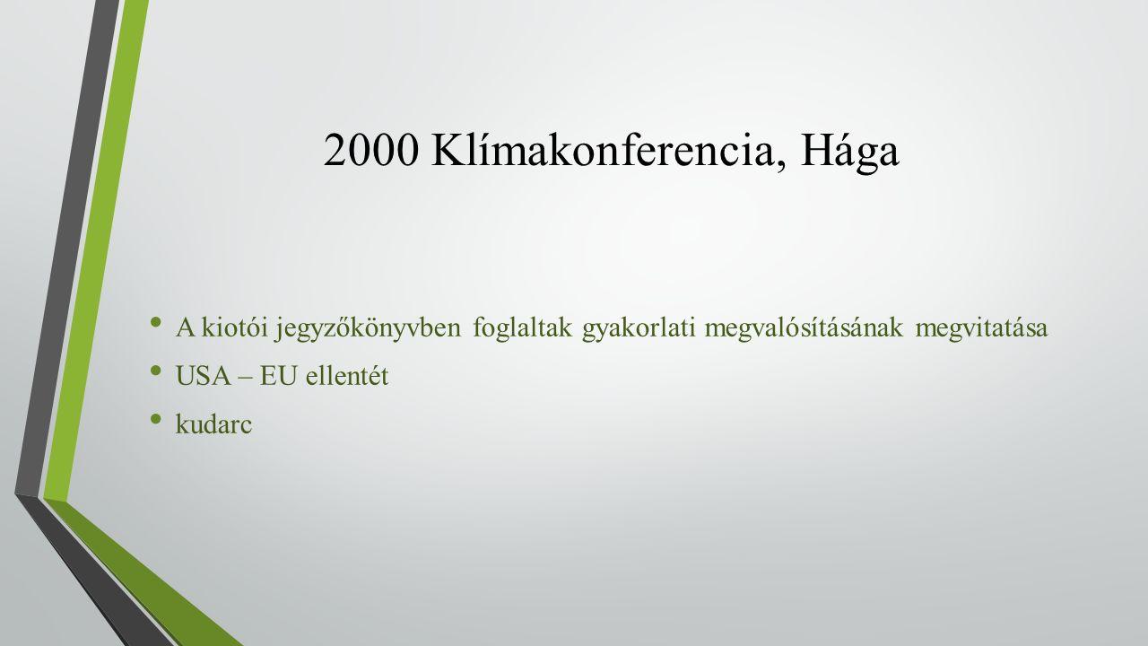 2000 Klímakonferencia, Hága A kiotói jegyzőkönyvben foglaltak gyakorlati megvalósításának megvitatása USA – EU ellentét kudarc
