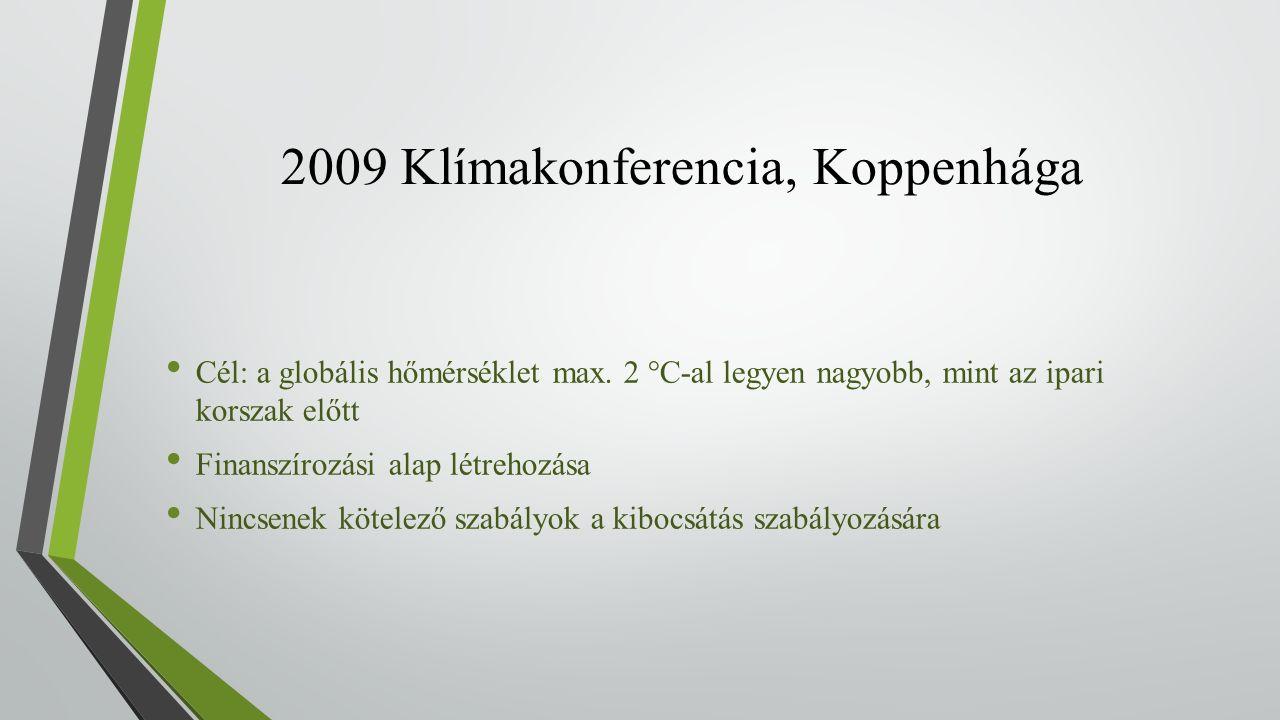 2009 Klímakonferencia, Koppenhága Cél: a globális hőmérséklet max.