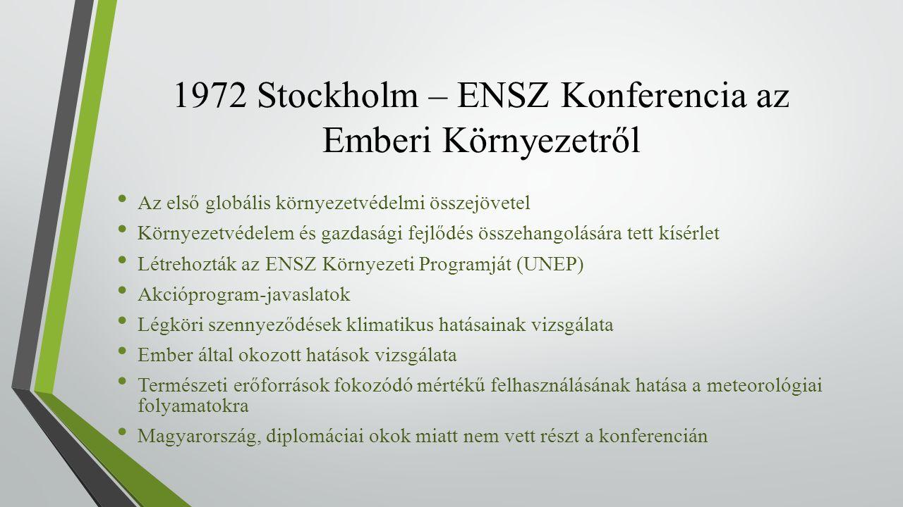1972 Stockholm – ENSZ Konferencia az Emberi Környezetről Az első globális környezetvédelmi összejövetel Környezetvédelem és gazdasági fejlődés összehangolására tett kísérlet Létrehozták az ENSZ Környezeti Programját (UNEP) Akcióprogram-javaslatok Légköri szennyeződések klimatikus hatásainak vizsgálata Ember által okozott hatások vizsgálata Természeti erőforrások fokozódó mértékű felhasználásának hatása a meteorológiai folyamatokra Magyarország, diplomáciai okok miatt nem vett részt a konferencián