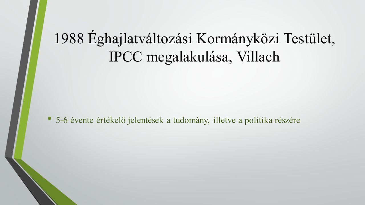 1988 Éghajlatváltozási Kormányközi Testület, IPCC megalakulása, Villach 5-6 évente értékelő jelentések a tudomány, illetve a politika részére