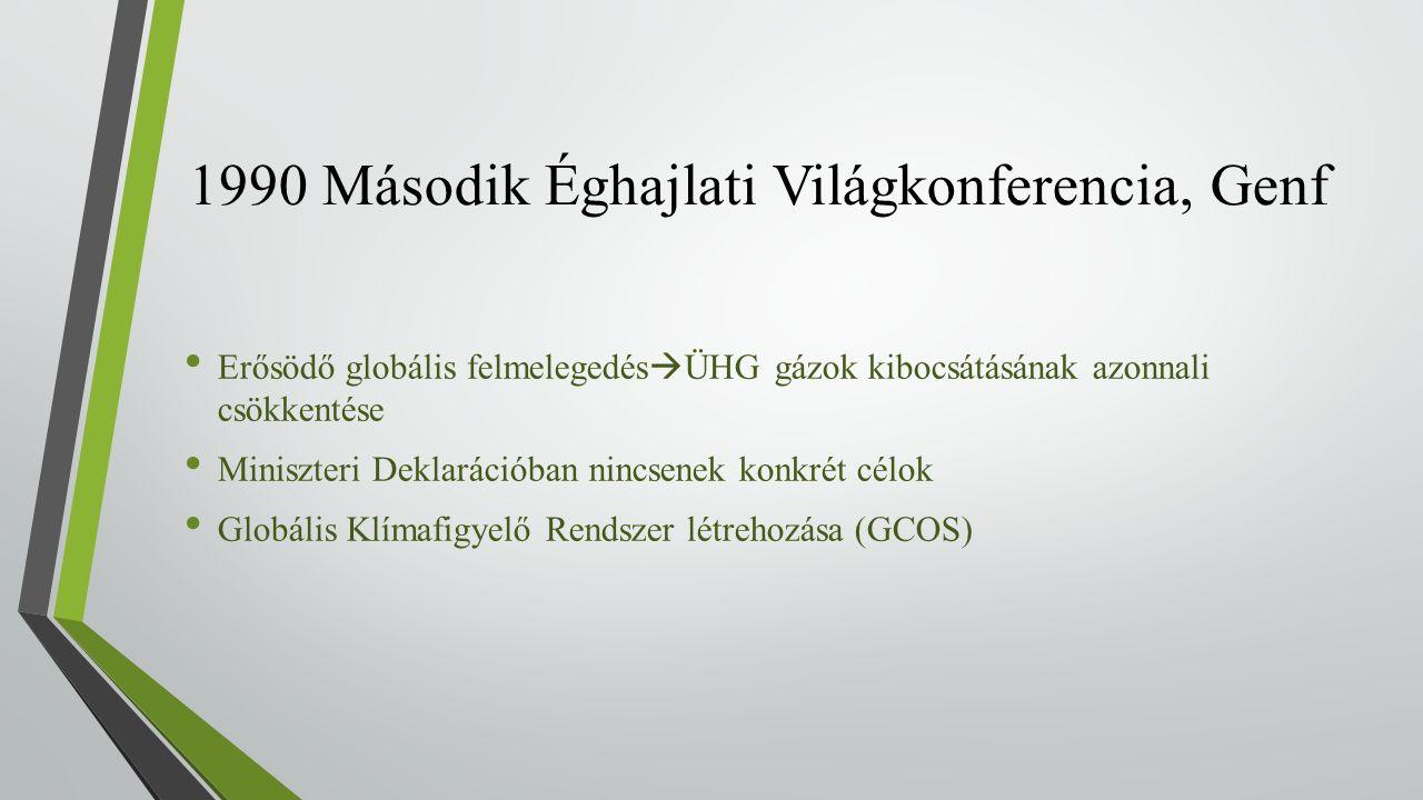 1990 Második Éghajlati Világkonferencia, Genf Erősödő globális felmelegedés  ÜHG gázok kibocsátásának azonnali csökkentése Miniszteri Deklarációban nincsenek konkrét célok Globális Klímafigyelő Rendszer létrehozása (GCOS)