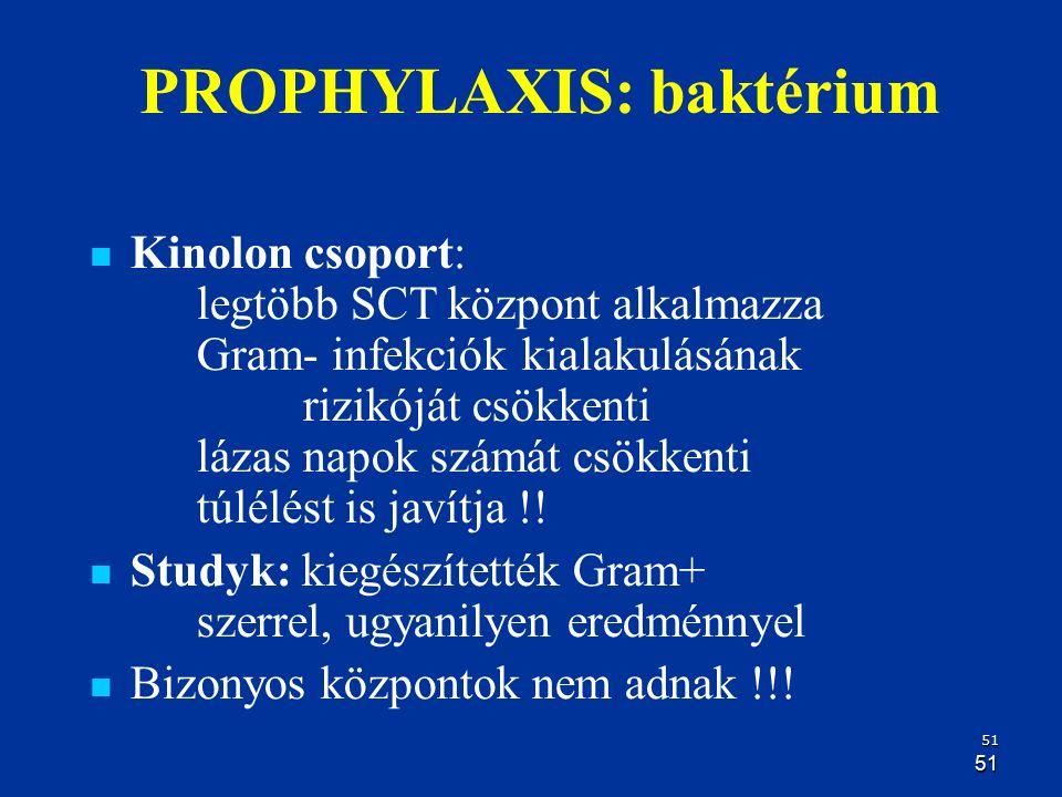 51 51 PROPHYLAXIS: baktérium Kinolon csoport: legtöbb SCT központ alkalmazza Gram- infekciók kialakulásának rizikóját csökkenti lázas napok számát csö
