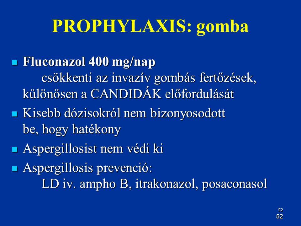 52 52 PROPHYLAXIS: gomba Fluconazol 400 mg/nap csökkenti az invazív gombás fertőzések, különösen a CANDIDÁK előfordulását Fluconazol 400 mg/nap csökke
