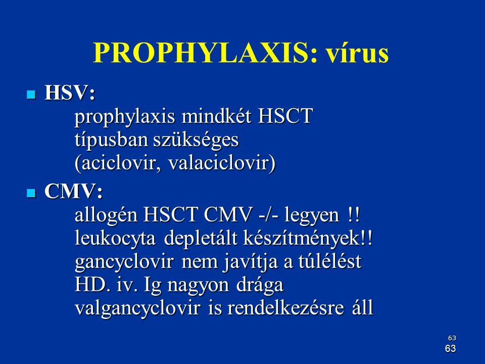63 63 PROPHYLAXIS: vírus HSV: prophylaxis mindkét HSCT típusban szükséges (aciclovir, valaciclovir) HSV: prophylaxis mindkét HSCT típusban szükséges (