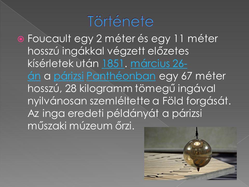  Foucault egy 2 méter és egy 11 méter hosszú ingákkal végzett előzetes kísérletek után 1851.