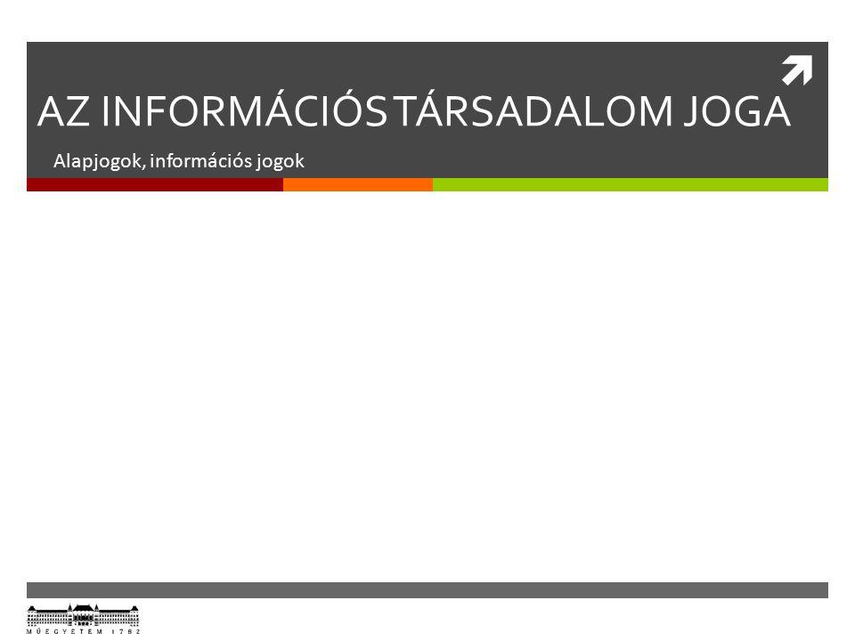  AZ INFORMÁCIÓS TÁRSADALOM JOGA Alapjogok, információs jogok