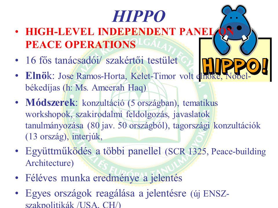 HIPPO HIGH-LEVEL INDEPENDENT PANEL ON PEACE OPERATIONS 16 fős tanácsadói/ szakértői testület Elnök: Jose Ramos-Horta, Kelet-Timor volt elnöke, Nobel-