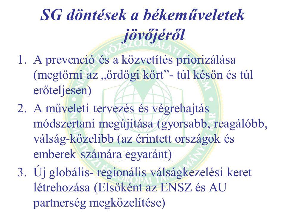 """SG döntések a békeműveletek jövőjéről 1.A prevenció és a közvetítés priorizálása (megtörni az """"ördögi kört - túl későn és túl erőteljesen) 2.A műveleti tervezés és végrehajtás módszertani megújítása (gyorsabb, reagálóbb, válság-közelibb (az érintett országok és emberek számára egyaránt) 3.Új globális- regionális válságkezelési keret létrehozása (Elsőként az ENSZ és AU partnerség megközelítése)"""