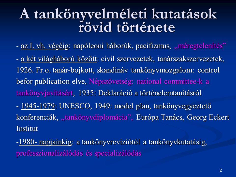 2 A tankönyvelméleti kutatások rövid története - az I.