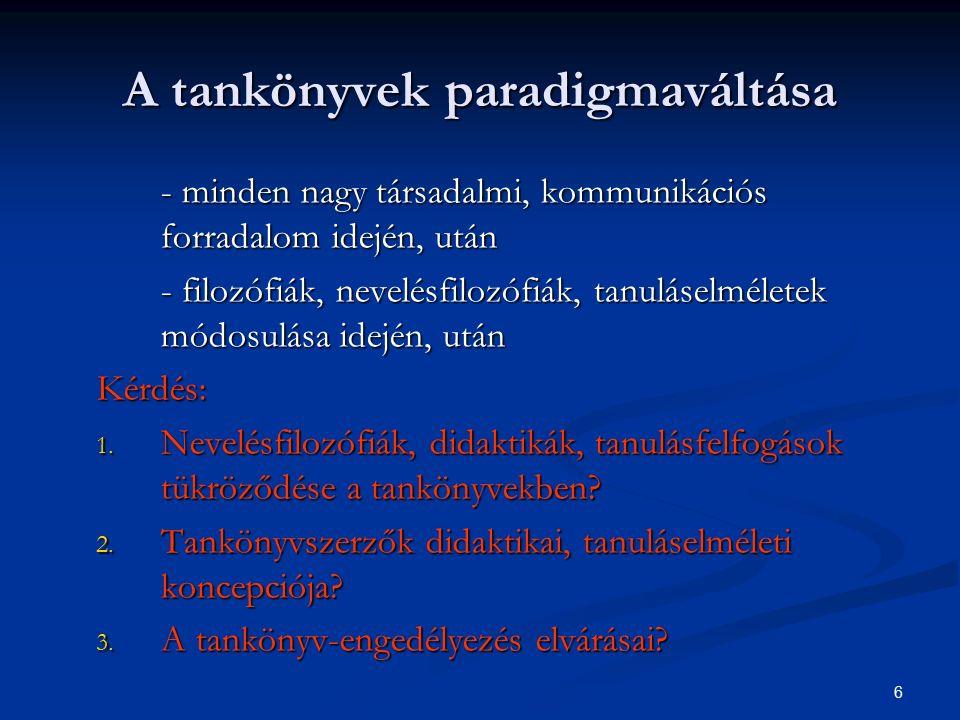 6 A tankönyvek paradigmaváltása - minden nagy társadalmi, kommunikációs forradalom idején, után - filozófiák, nevelésfilozófiák, tanuláselméletek módosulása idején, után Kérdés: 1.