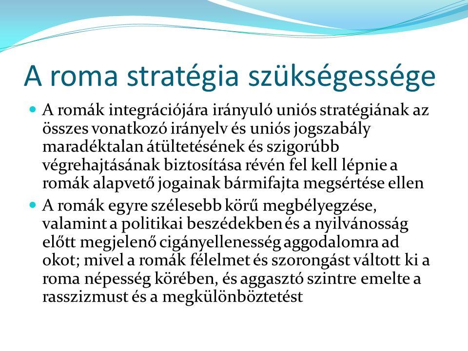 A roma stratégia szükségessége A romák integrációjára irányuló uniós stratégiának az összes vonatkozó irányelv és uniós jogszabály maradéktalan átültetésének és szigorúbb végrehajtásának biztosítása révén fel kell lépnie a romák alapvető jogainak bármifajta megsértése ellen A romák egyre szélesebb körű megbélyegzése, valamint a politikai beszédekben és a nyilvánosság előtt megjelenő cigányellenesség aggodalomra ad okot; mivel a romák félelmet és szorongást váltott ki a roma népesség körében, és aggasztó szintre emelte a rasszizmust és a megkülönböztetést