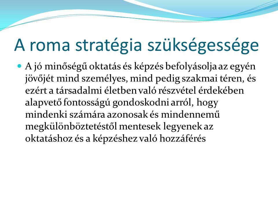 A roma stratégia szükségessége A jó minőségű oktatás és képzés befolyásolja az egyén jövőjét mind személyes, mind pedig szakmai téren, és ezért a társadalmi életben való részvétel érdekében alapvető fontosságú gondoskodni arról, hogy mindenki számára azonosak és mindennemű megkülönböztetéstől mentesek legyenek az oktatáshoz és a képzéshez való hozzáférés
